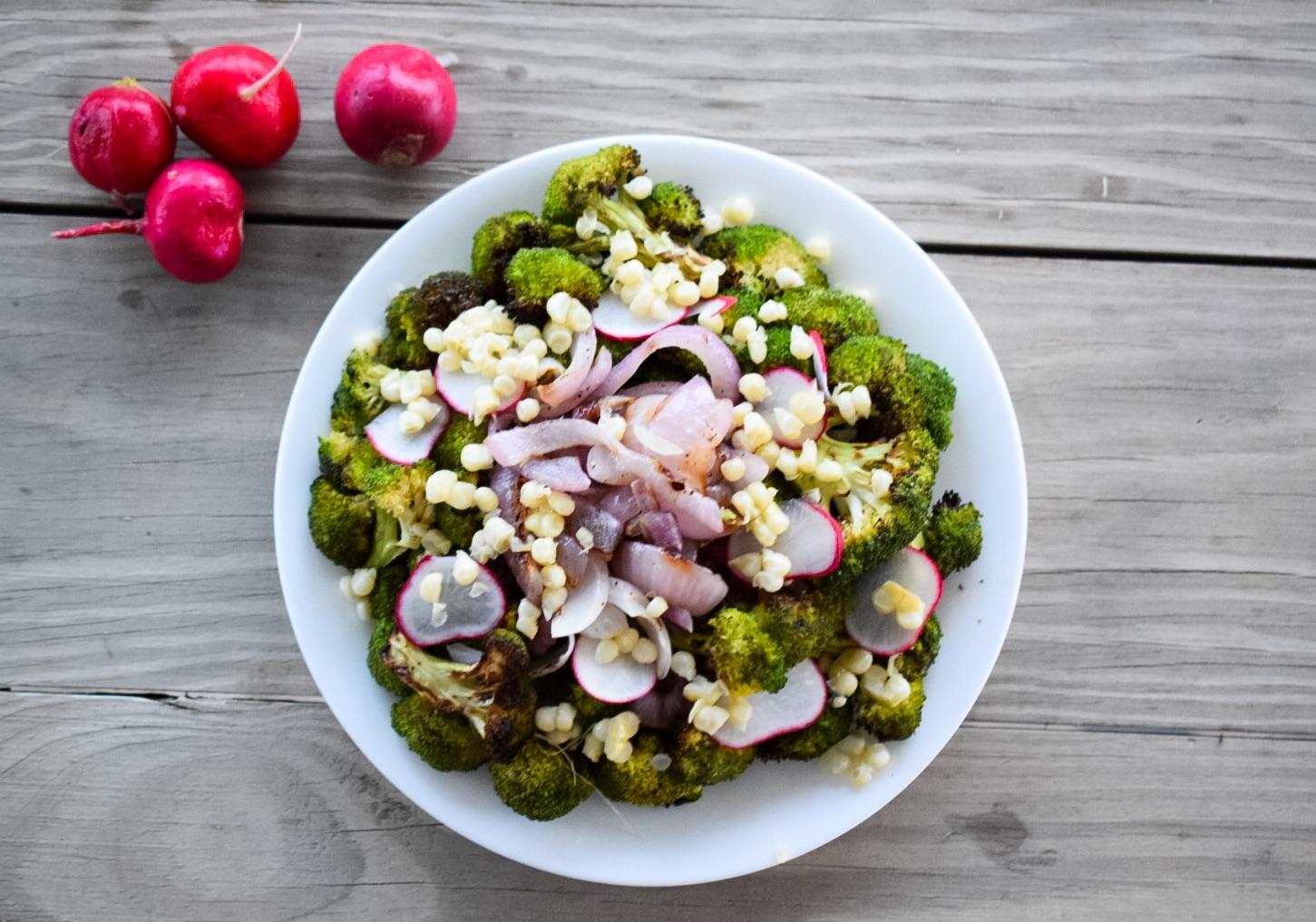 Photo of finished grilled broccoli radish salad