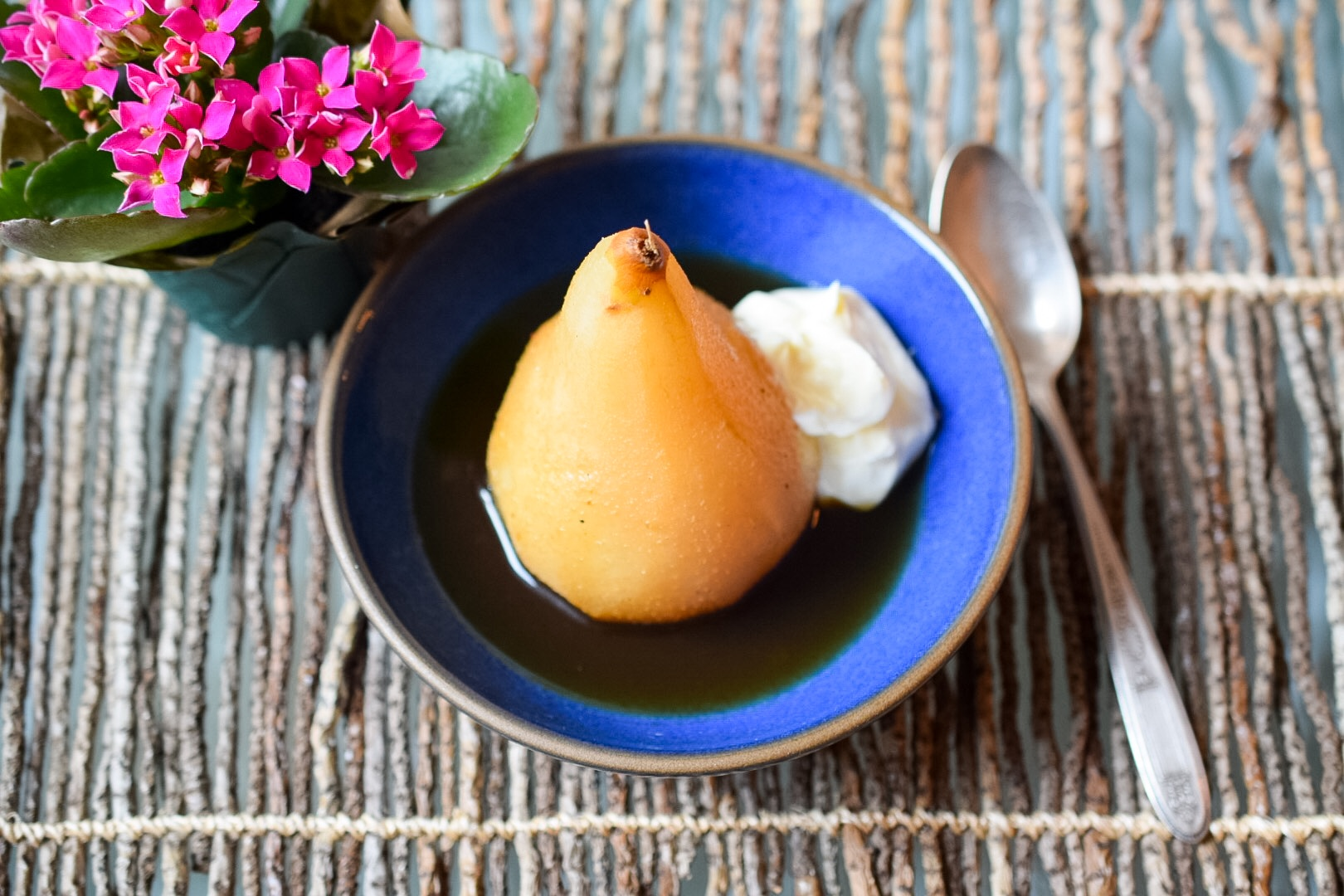 Brassica Tea Poached Pear Dish